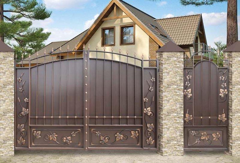 Фото домашних ворот система для раздвижных ворот из профнастила